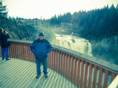 A safety fence at Snoqualmie Falls in Washington State - to keep myself (and others) from falling over.