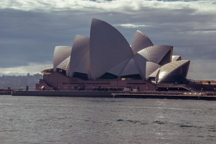 The Sydney Opera House has patterns on its sails that aren't always obvious - sun helps to reveal the intricate patterns.